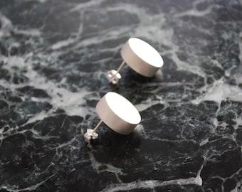 Stud Earrings, Minimalist Earrings, Brass Earrings, Silver Plated Earrings, Round Stud Earrings, Geometric Earrings