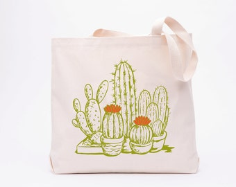 Cactus Tote Bag - Reusable Grocery Tote Bag - Canvas Tote Bag - Screen Printed Cotton Grocery Bag -  Large Canvas Shopper