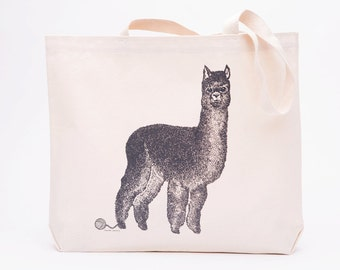 Alpaca Canvas Tote Bag - Screen Printed Cotton Grocery Bag - Large Canvas Shopper - Reusable Grocery Tote Bag - Llama