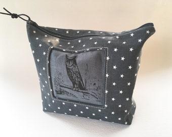 Night Owl Clutch, Canvas Handprinted Tool Bag