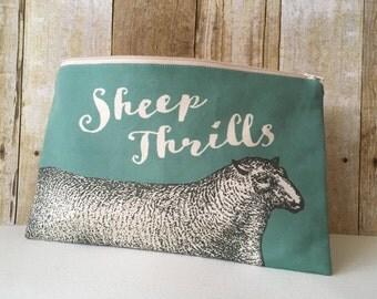 Sheep Thrills Knitting Zipper Pouch, Needle Case, Sock Project Bag, Linen Blend