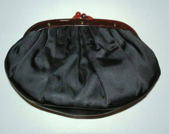 Vintage Black Clutch with Bakelite
