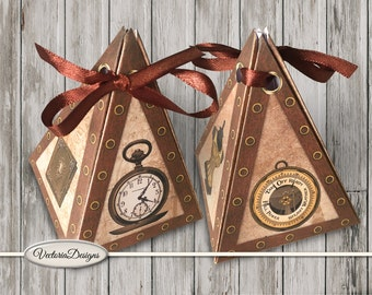 Steampunk pyramid box printable diy paper crafting favor digital download instant download digital collage sheet - VDBXST1520