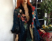 NEW jacket OOAK sequined embroidered dreamy cardigan in teal faux fur fishnet lace wearable art sexy flattering  gift idea by golden yarn