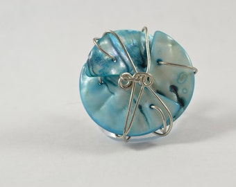Size 9 Ring:  Teal Shells Wrapped in Silver Tone Wire
