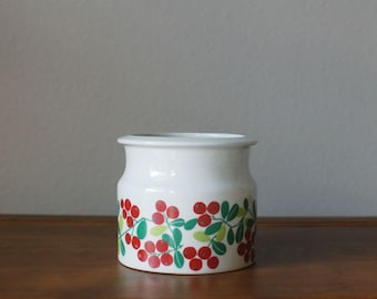 Vintage Arabia of Finland Lingonberry Puolukka  tall jam pot jar Pomona Series