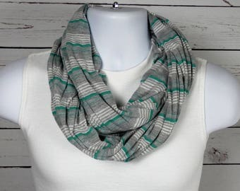 Athletic Grey Striped Infinity Scarf Heather Grey Green Sea foam and White Striped Double Loop Scarf Handmade by Thimbledoodle