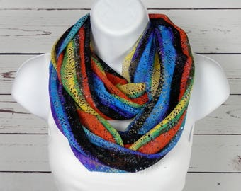 Rainbow Infinity Scarf Multicolor Striped Lace Infinity Lace Knit Scarf in Rainbow Colors by Thimbledoodle