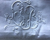 French vintage Linen sheet adorned with beautiful Monogram