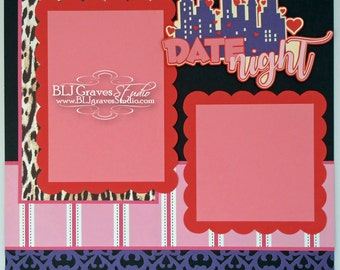 Date Night Premade Scrapbook Page Valentine Love 12x12 Layout Paper Piecing Handmade 34
