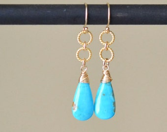 Turquoise Earrings, Turquoise Tear Drop Earrings, Tear Drop Earrings, Drop Earrings, Dangling Earrings, Wire Wrapped Earrings, Gold Earrings