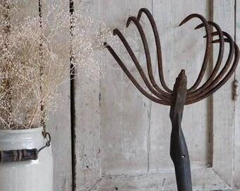 Antique Rusty Garden Tool Cultivator, Farm Hoe Tool
