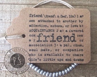 Tie On Beaded Friendship Bracelet w/ Hand Stamped Gift Tag - More Bead Colors