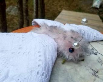 White Moth textile soft sculpture , plush, stuffed , OOAK