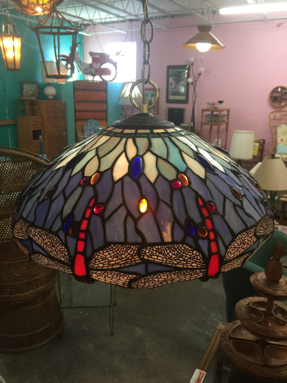 Beautiful Dragonfly Stained Glass Hanging Lamp