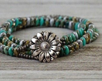 Turquoise mix superduo and silver wrap bracelet,wrap bracelet, beaded bracelet, turquoise,silver, sunflower,turquoise mix,boho chic,modern