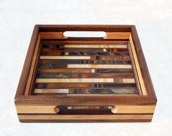 Solid Wood Glass Mosaic Tray all Handmade