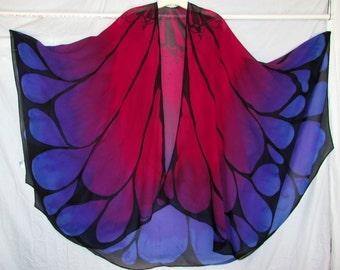 Butterfly wings silk cape, butterfly wings, silk cape, gifts for her, festival wear, ceremonial wear,sacred dance veil, belly dance veil