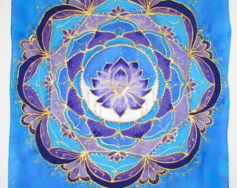 Mandala silk wall hanging, lotus mandala, lotus wall hanging, moon mandala, moon wall hanging, meditation art, spiritual art, silk art