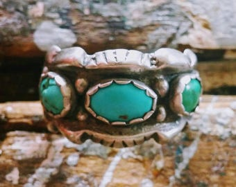 1950s First Nations' Artisanal Sterling and Turquoise Ring