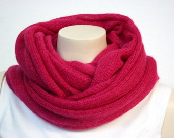 Magenta/Bright Pink Mohair Cowl - Fluffy, Soft & Warm