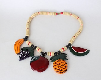 Vintage Hand Painted Wooden Fruit Necklace