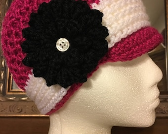 Adult Newsboy Hat Ready to Ship in Hot Pink