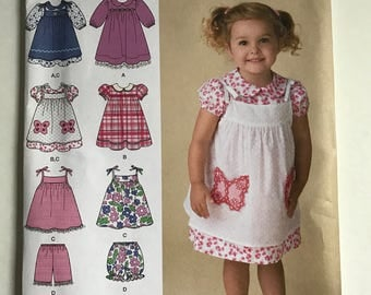 Simplicity Easy to Sew 2461 Toddler Dress Toddler Pinafore and Bloomers Size 6 months to 4T Uncut