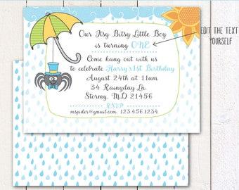 Itsy Bitsy Spider/ Boy / Rainy day Birthday (Instant Download) 5x7 printable invitation and envelope