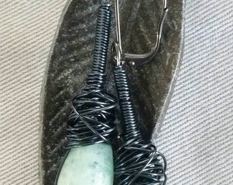 Aquamarine teardrop earrings, aquamarine earrings, gunmetal aquamarine earrings, gunmetal aquamarine teardrop earrings