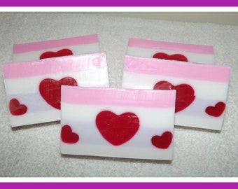 Valentine Heart Soap, Soap with Hearts, Heart Soap Bar, Valentine Gift, Gift for Her, Berry Glycerin Soap, Heart Soap, Wedding Soap