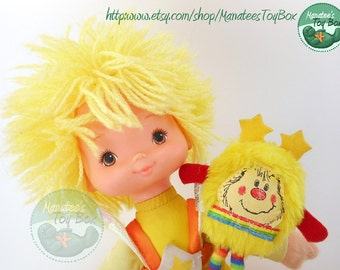Rainbow Brite Canary Yellow Doll with Sprite: 1980s Toy by Mattel