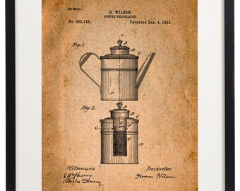 Set of 6 Prints Coffee Patent Vintage Home Decor Wall Art Print