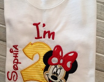 2nd Birthday Shirt I'm 2 Fancy Birthday Girl Shirt Minnie Mouse Birthday Shirt
