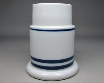 Dansk candle holder , blue and white , no glass shade .