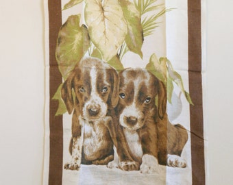 Vintage 1960s Brown & White Puppies Hound Pure Irish Linen Towel Exc Cond by Dunmoy