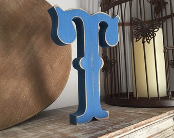 Painted Wooden Letter. Large T, Circus Font, 40cm high, 16 inch, any colour, wall letter, wall decor, 18mm - various colours and finishes