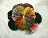 Reserved for Mom Rainbow Pansy Ribbon Flower Applique Velvet Leaves