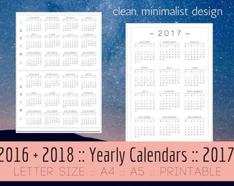 2017 PRINTABLE Calendar, Yearly Calendar, 2017 + 2016 + 2018 Calendars, Minimalist // A5, A4, Letter, Wall, Desk, Planner Inserts, Print PDF
