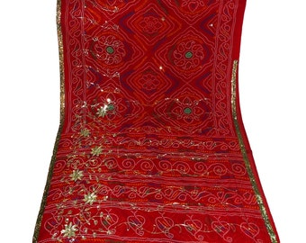 Used Sari in red bandhej or Jaipur print/vintage sari/Colour Dress  Making fabric sarong drape Embroidered Sari