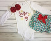 Santa Baby Holiday/Christmas, My First Christmas Outfit, Bloomers, Red Bow Headband, Carters Onesie, Complete Baby/ Toddler set, Santa Claus