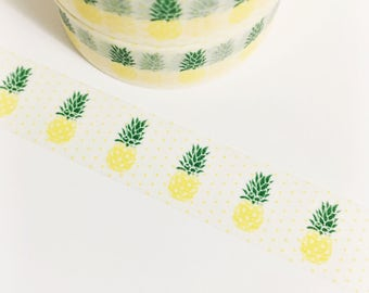 Bright Yellow Pineapples Yellow and Green Polka Dot Fruit Pineapple Washi Tape 11 yards 10 meters 15mm