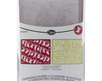 Sizzix CHRISTMAS STOCKINGS SET of Embossing Folders - 656976