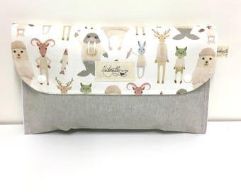 Diaper Clutch Nappy Bag Wallet - Arctic Animals. Waterproof Lining - Baby Shower Gift