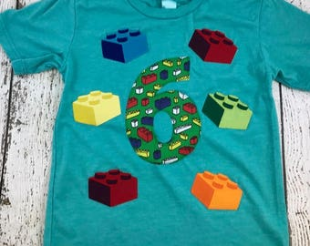 Blocks Shirt Organic Blend Birthday Tee Birthday Retro style created for any birthday building party bricks brick decor block invite
