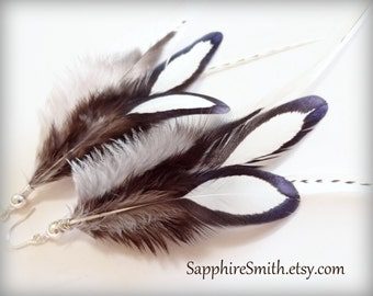 Reduced! BLACK & WHITE Feather Earrings, Neutral Grey Brown Black White Feather Earrings, Sterling Silver Beads and Ear Wires, rave wear