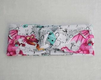 Raspberry Doodle Dragon Army - Faux Turban Twist Headband