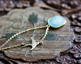 Blue Druzy Necklace Aqua Quartz Stone Swallow Necklace Flying Bird Crystal Druzy Jewelry - N349