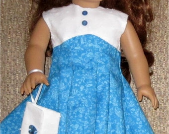 """Turquoise White Floral Print Dress Pillbox Hat Wristlet Purse  3 Piece Outfit Fits American Girl or Similar 18"""" Doll"""
