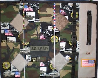 Lap Sensory Fidget Quilt 11 Army Themed